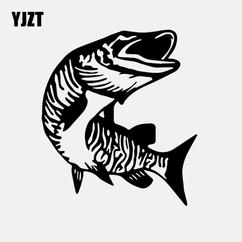 YJZT 14CM*15.8CM Muskie Musky Fish Fishing Decal Vinyl Car Sticker Black/Silver C24-0974