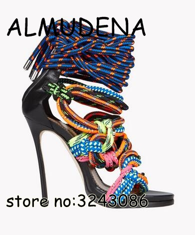 Amazing newest High Heels Sandals Knot Rope Gladiator Women Ankle Wrap Cross Strap Sandal Boots Cut-outs Stiletto Pumps Shoes