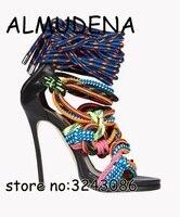 Asombroso más nuevo zapatos de Tacón Alto Sandalias de Gladiador Mujeres del Nudo de la Cuerda Del Abrigo Del Tobillo Correa Cruzada Botas Sandalia recortes Bombas de tacón de Aguja zapatos