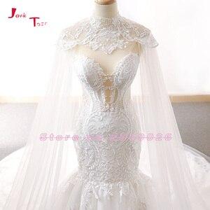 Image 5 - Jark Tozr 2020 חדש מגיע תחרה בת ים שמלות כלה עם טול צעיף Slim אלגנטי סין כלה שמלות Vestido Noiva Sereia