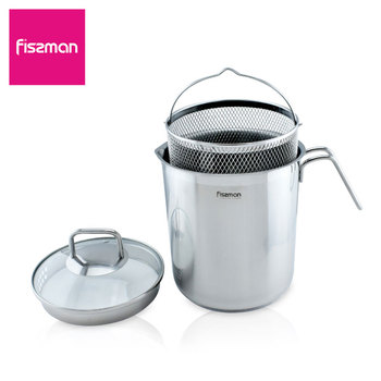 Fissman Asparagus pot 16*18.0 cm 3.5 LTR with Glass Lid and Stainless steel Steamer Basket lid