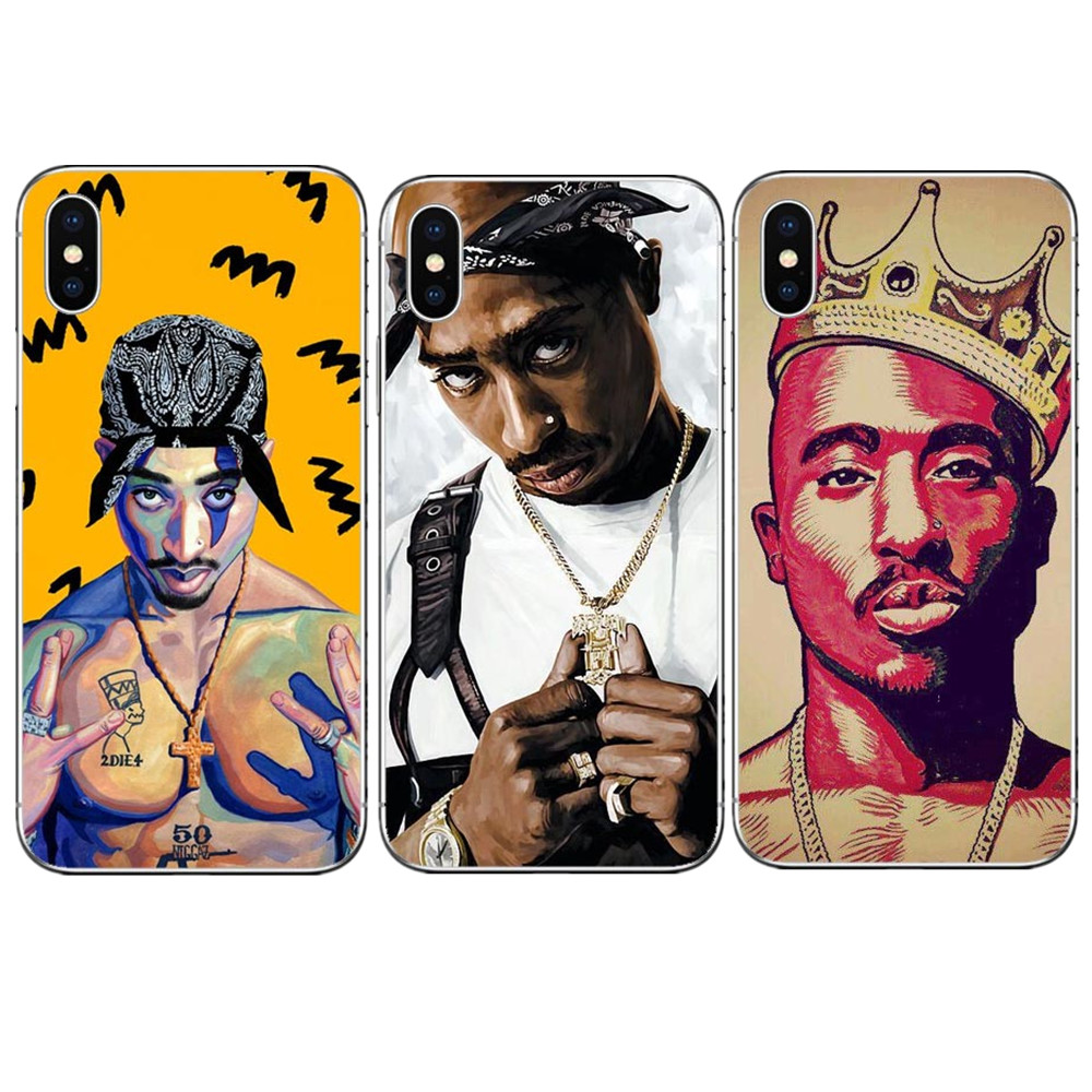 Expressive Phone Case King 2pac Tupac Shakur Hard Pc Phone Case For Iphone 7 Xr Xs Max 6 6s Plus 5 5s Se 8 8plus X 10 Cover Jade White