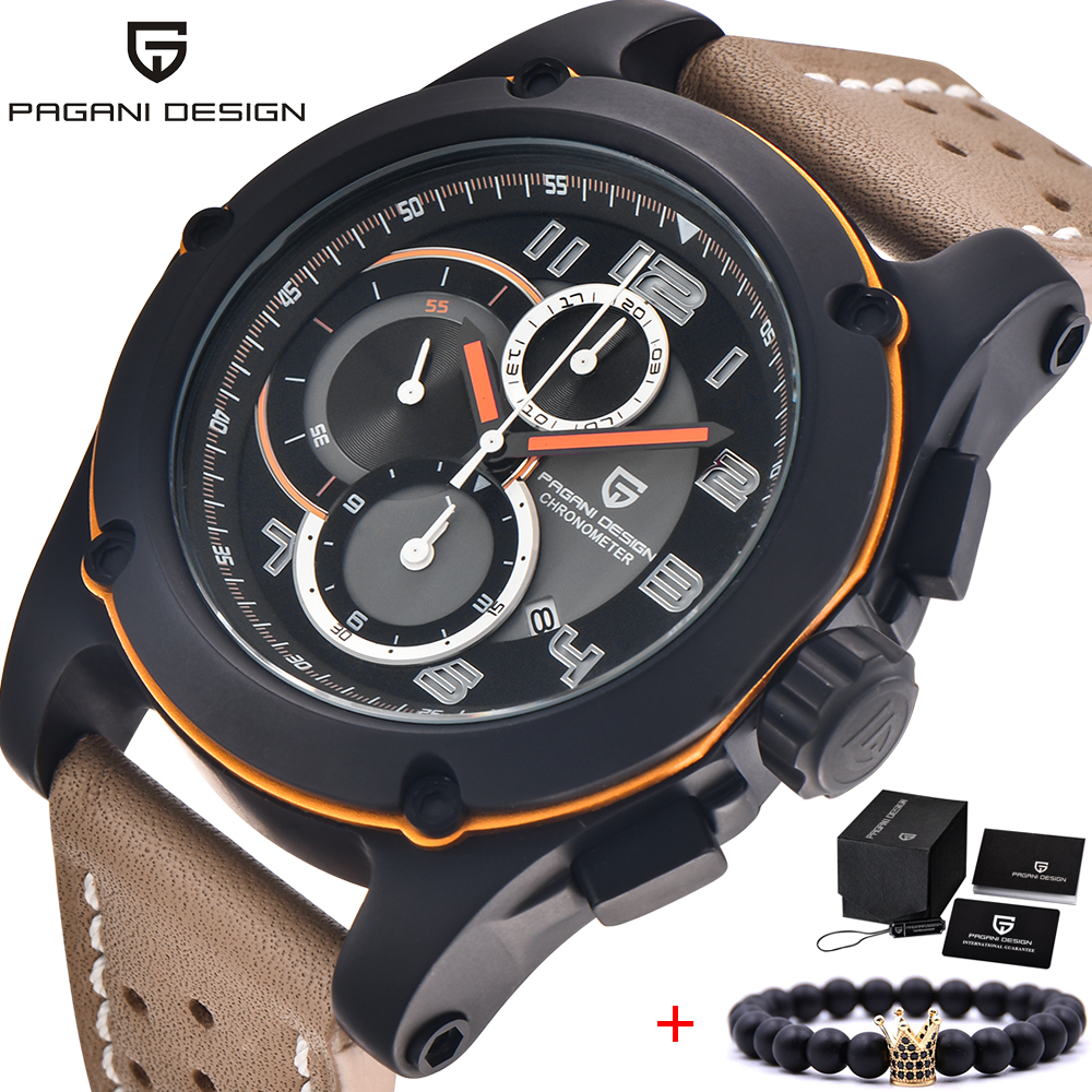 PAGANI DESIGN New Mens Watches Top Brand Luxury Date Quartz Watch Man Leather Military Sport Wrist Watch Men Waterproof Clock pagani design men watch top brand luxury stainless steel leather sport military watch male quartz wrist watch men clock 2018 new