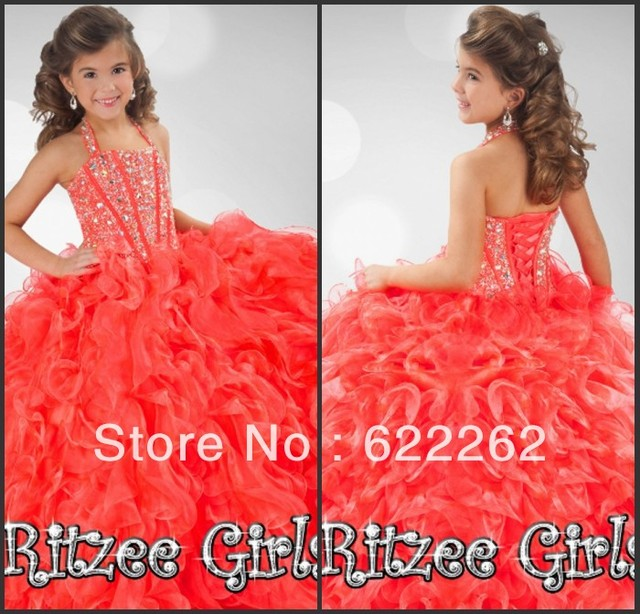9178b2a8823 New arrival ball gown halter floor length red organza ruffles rhinestone  pleated pageant for kids flower girl dresses