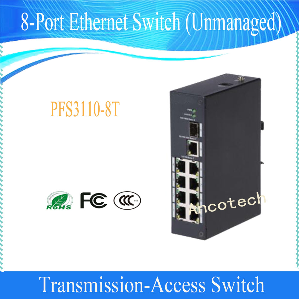 Free Shipping DAHUA 100M/1000M self-adaptive SFP fiber port 8-Port Ethernet Switch (Unmanaged) Without Logo PFS3110-8T tp link sf1005 5 port 10 100m self adaptive ethernet switch