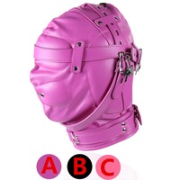 Bdsm Sex Leather Hood Mask Headgear Bondage Slave In Adult Games For Couples , Fetish Erotic Flirting Toys For Women And Men