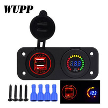 WUPP Universal Waterproof Car Charger Motorcycle Plug Dual USB With LED Red Digital Display Voltmeter Charging Socket 12V-24V