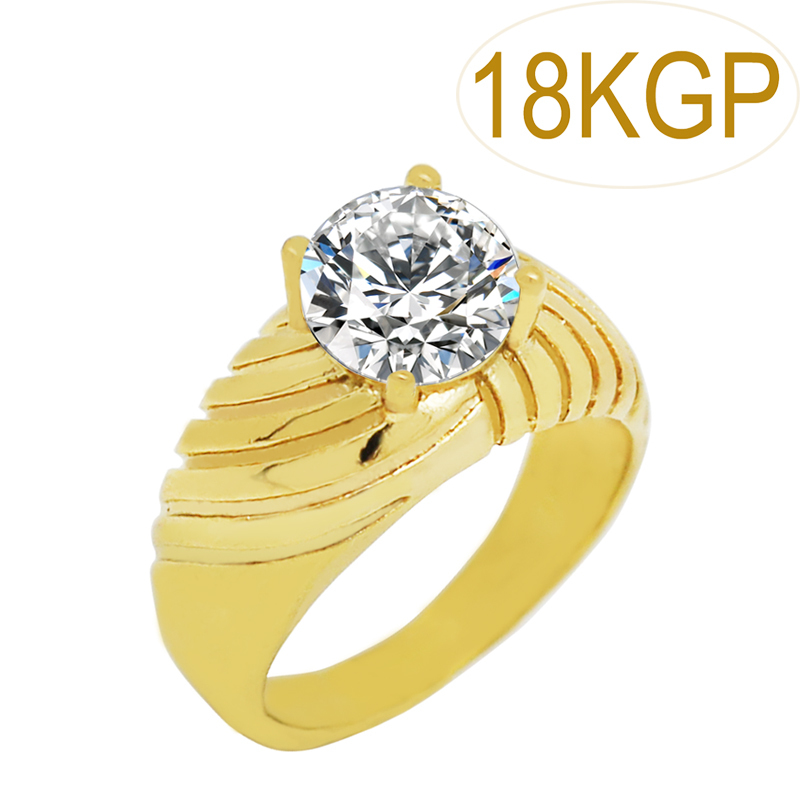 Royal crown twill big stone import zircon ring brand gold for Jh jewelry guarantee 2 years
