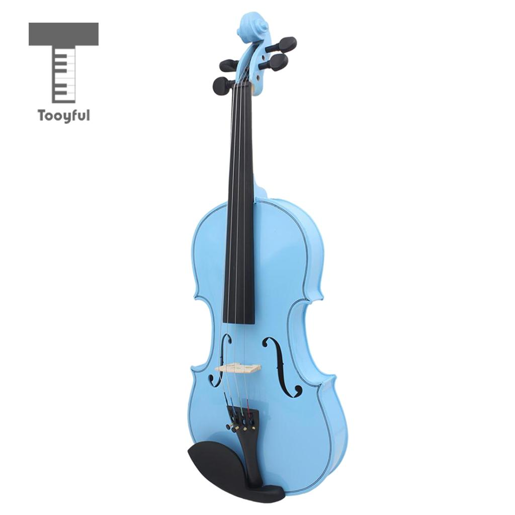 Tooyful 23'' Full Size Violin 4/4 Set Blue w/ Case Bow Rosin Resin for Band Concert Performance free shipping 4 4 size 430c pernambuco cello bow high quality ebony frog with shield pattern white hair violin parts accessories