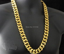 """HEAVY HUGE 24K GOLD TONE 316L STAINLESS STEEL CUBAN LINK CHAIN NECKLACE(SUPER HEAVY)(28""""x 20mm)"""