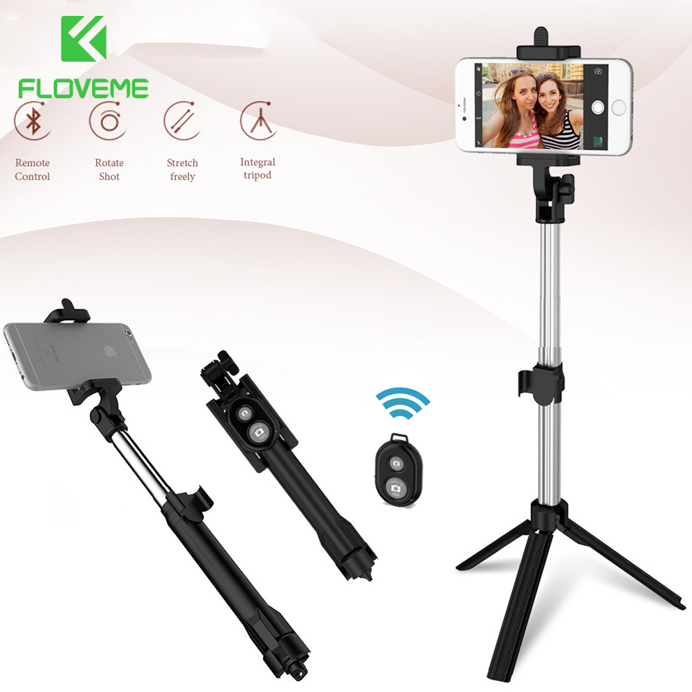 FLOVEME Tripod Selfie Stick Wireless Bluetooth Monopod For iPhone Samsung Xiaomi Remote Control Handheld Smartphone Selfie Stick lnmbbs 10 1 inch tablet 8 core 3g tabletas 2gb ram 16gb rom sims wifi gps otg office dual cameras android 7 0 tablet cheap dhl