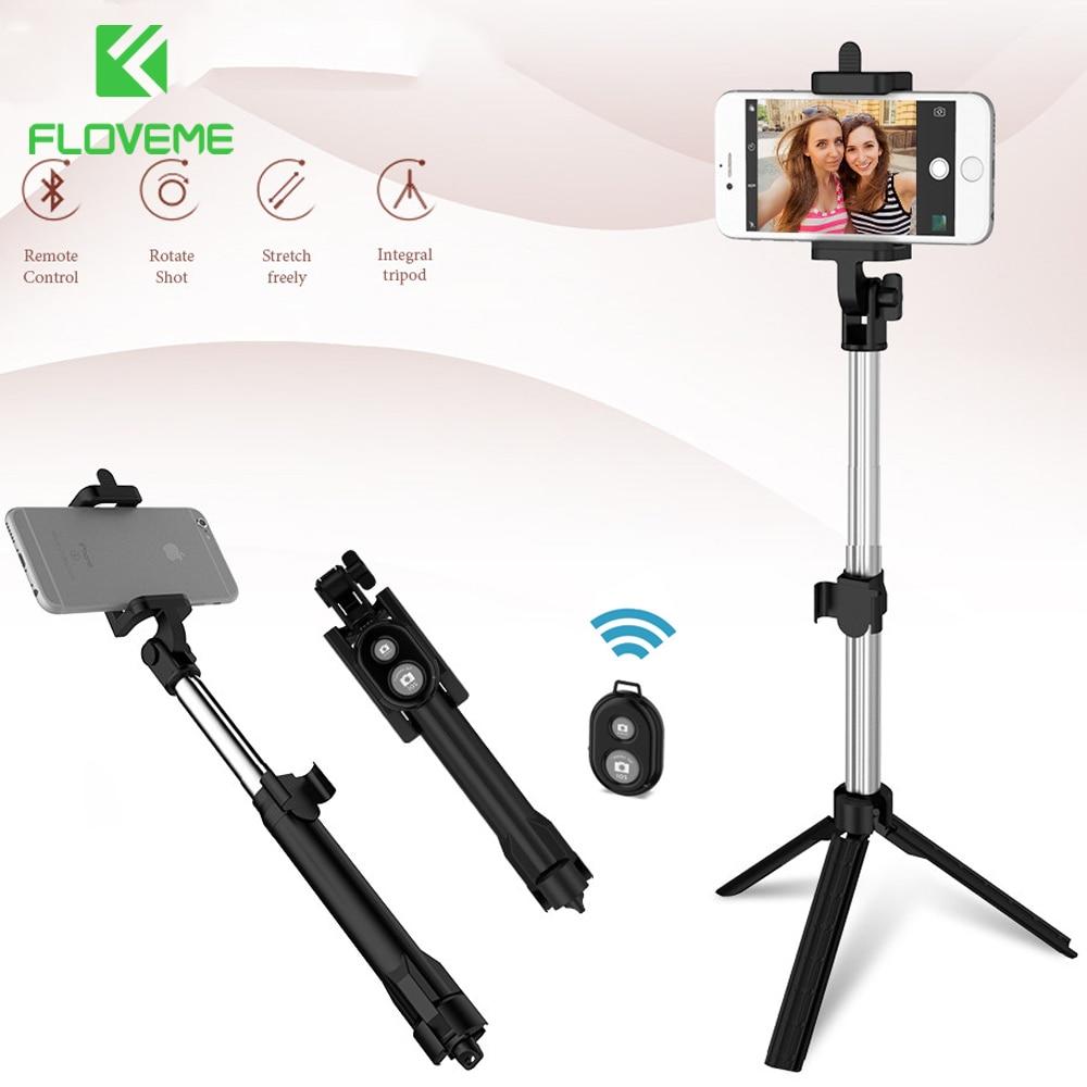 FLOVEME trípode Selfie Stick inalámbrico Bluetooth Monopod para iPhone Samsung Xiaomi Control remoto Smartphone de mano Selfie Stick