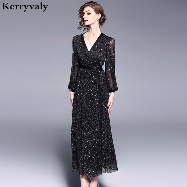 5aa86442e04 Spring Women Long Dot Dress Vetement Femme 2018 Long Sleeve V-neck Black  Maxi Dress Robe Longue Tunique Femme Vestido Longo K180