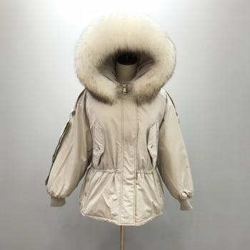 Large Real Raccoon Fur 2019 Women Winter Jacket Hooded Warm Female White Duck Down Jacket Medium Long Parkas Loose Women Coat 4