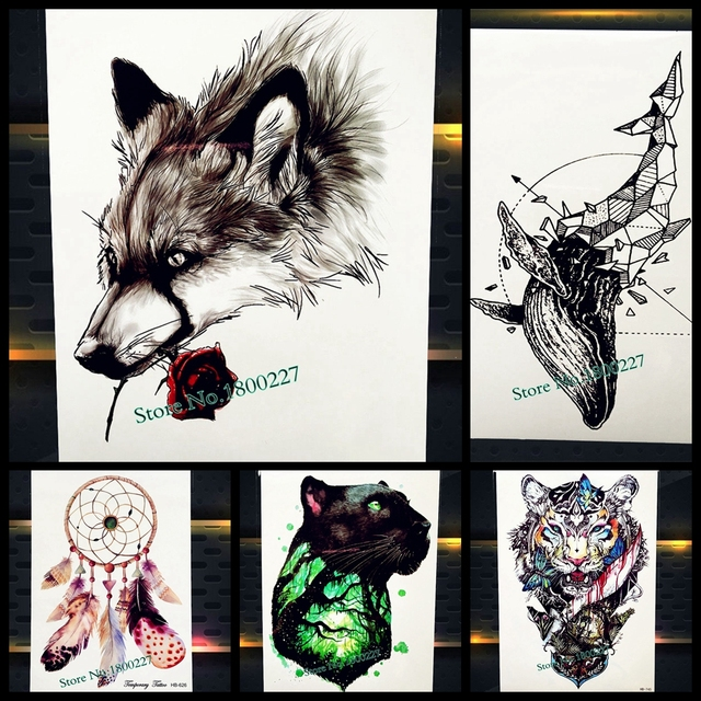 New Fashion Wild Wolf With Rose Tattoo 21x15cm Waterproof Flower Arm