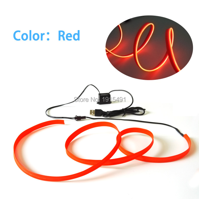 1Meter Bright Red Flexible 2.3mm EL Skirt Wire Fancy Glowing Led ...