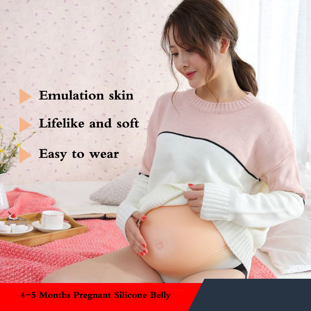 4-5 Months artificial belly silicone pregnant tummy fake pregnancy belly for women and actors Breast Form breast form fake breast fake boobs twins 3000g women belly silicone false pregnant latest design bag pregnancy