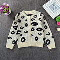 INS Hot Sale Toddler Kids Autumn Winter Long Sleeve Fashion Leopard Printing O-neck Single Breasted Short Cardigan Sweaters
