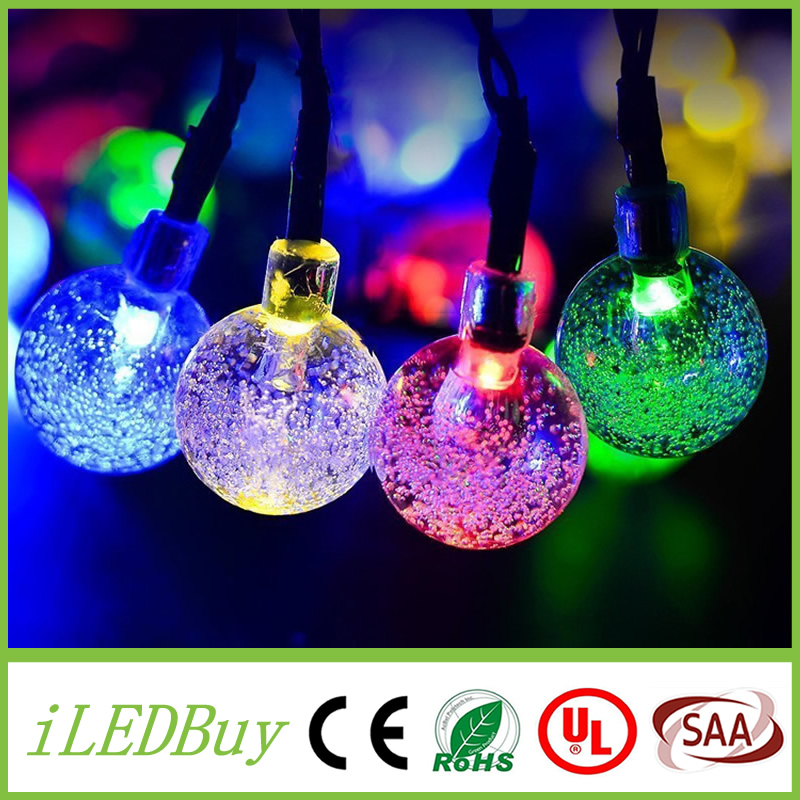 Solar Powered String Lights Outdoor Globe Christmas Light