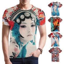 2016 New Brand Clothing Gothic Styles Men Short Sleeve Blouse Peking Opera Print T Shirt O Neck Tee Shirt Camisetas Homme B11