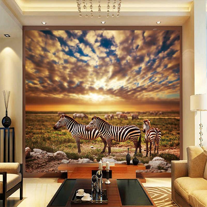 Custom Mural Hd High Definition Africa Grassland Zebra Canvas Background Wallpaper Photo Mural Wallpaper Living Room Home Decor Wallpapers Aliexpress