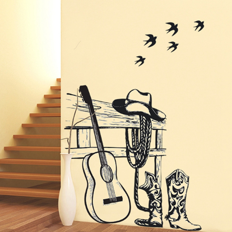 Guitar Wall Sticker Bar Cafe Art Home Shop Window Decor Wall ...