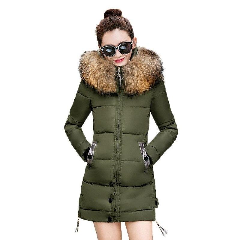 Winter woman   coats   2019 thick warm slim   down     coat   women's long hooded big fur collar Korean version of women's jacket