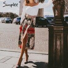 Simplee Ethnic pleated floral print women satin skirt High waist split midi