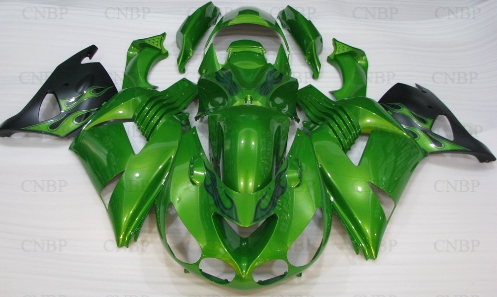 Bodywork for Kawasaki Zx14r 2010 Full Body Kits ZZ-R1400 2010 2006 - 2011 Green Black Fairing Kits Zx14 Zx-14r 2007 black moto fairing kit for kawasaki ninja zx14r zx 14r zz r1400 zzr1400 2006 2007 2008 2009 2010 2011 fairings custom made c549