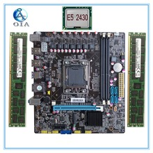 mainboard New Desktop Motherboard X78 LGA 1356  with E5 2430 + 8G(4G*2)RAM set M.2 ddr3 ecc ram port 32G USB3.0 M ATX