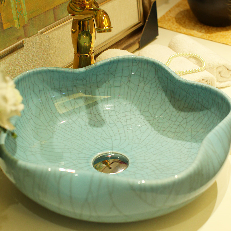 Bathroom Lavabo Ceramic Counter Top Wash Basin Cloakroom Crackle Glazing  Porcelain Vessel Sink Bathroom Sinks Mini