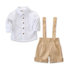 Baby Boys Gentleman Outfits Suits Infant Short Sleeve white Shirt+Bib Pants Overalls Clothes Set Wedding Tuxedo Clothing Set D20 baby boy clothes set outfits long sleeve shirt tops pants overalls kids gentleman clothing baby boys
