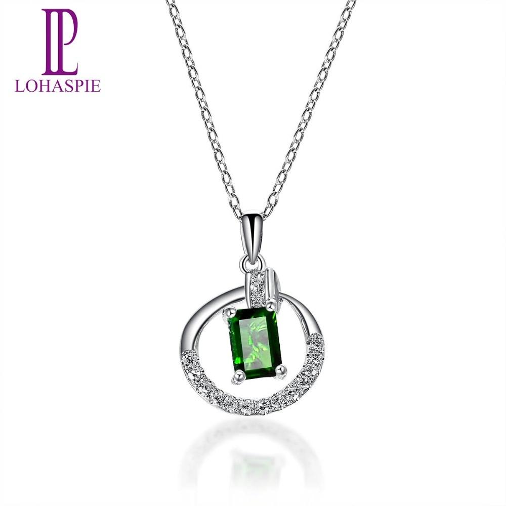 28ed692d07ae LP de diamantes de la joyería 18 K oro blanco 750 Natural de diópsido de  cromo Clou colgante de piedras preciosas colgante bien joyería de piedra  para nuevo ...