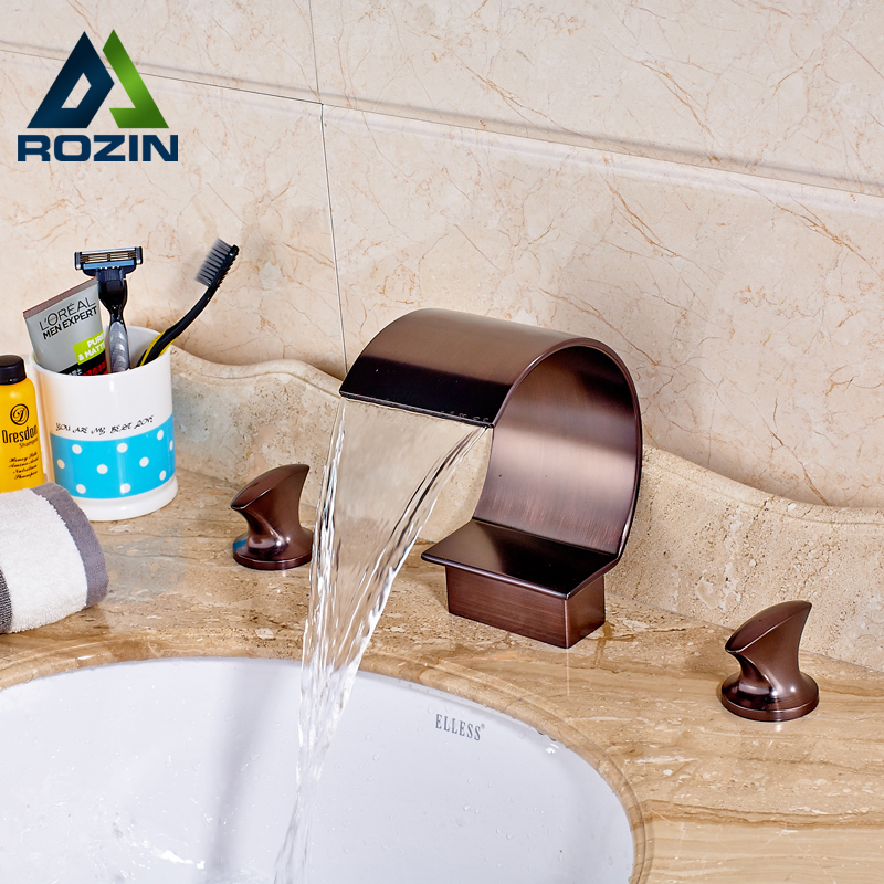 Oil Rubbed Bronze Waterfall Widespread Basin Sink Faucet Dual Handle Bathroom Washing Basin Mixers 3 Install Holes new oil rubbed bronze wide waterfall spout bathroom sink basin mixer faucet two handles widespread lavatory sink faucet