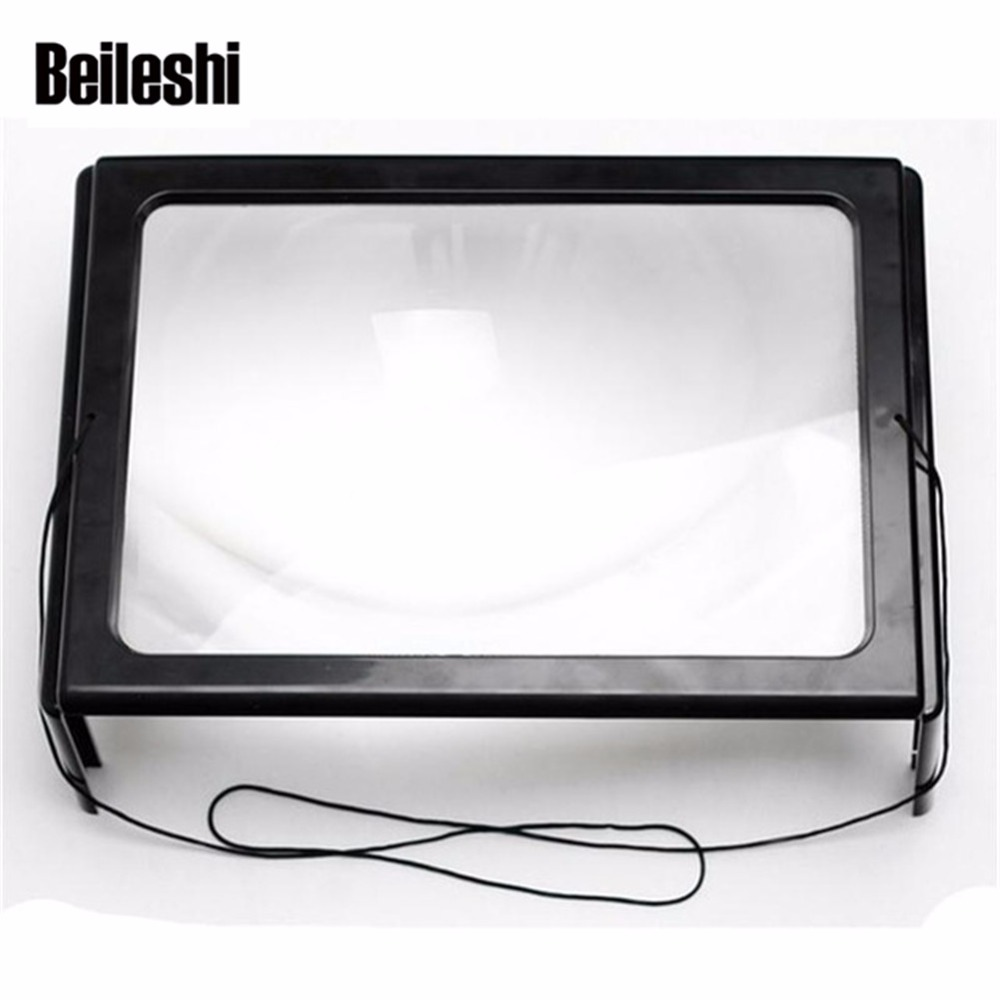 Beileshi A4 Full Page 3X Giant Hands Free Desk Foldable Magnifying Glass Magnifier for Reading Sewing Knitting With 4 LED Light