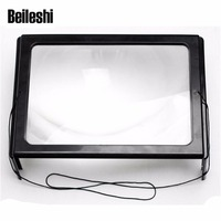 Beileshi Handheld 3X Zoom Magnifier Magnifying Glass A4 Full Page Lens For Reading Black