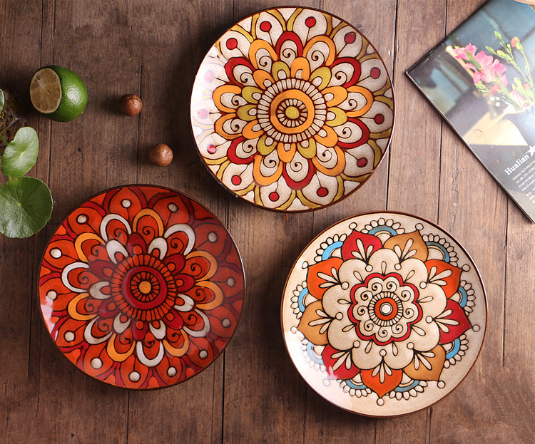 Creative personality hand painted ceramic plate West food plates dishes