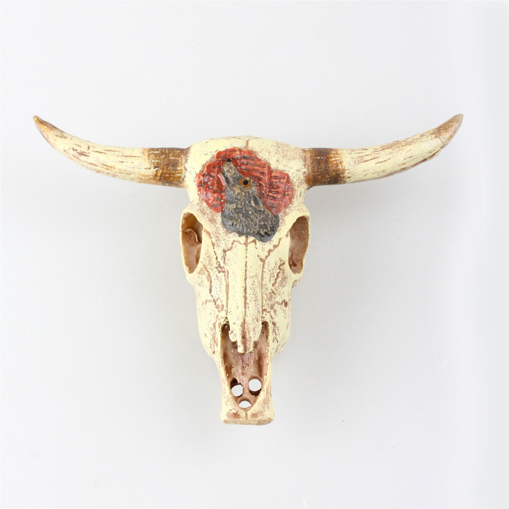 Resin Cow Skull Bull Skull Aquarium Decoration Fish Tank Ornament Vivarium Desert Terrarium Decoration Hide-away Hide-out