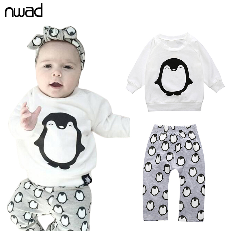 2017 Fashion  Baby Girl Clothes Penguin Cotton Toddler Boys Clothing Set Long Sleeved T-Shirt+Pants Newborn 2Pcs Suit  FF215 cotton baby rompers set newborn clothes baby clothing boys girls cartoon jumpsuits long sleeve overalls coveralls autumn winter