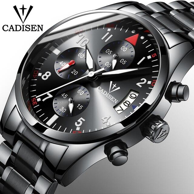 5d8f4e9a149 2017 Top Homens Relógios CADISEN Marca de Negócios De Moda de Luxo do  esporte dos homens
