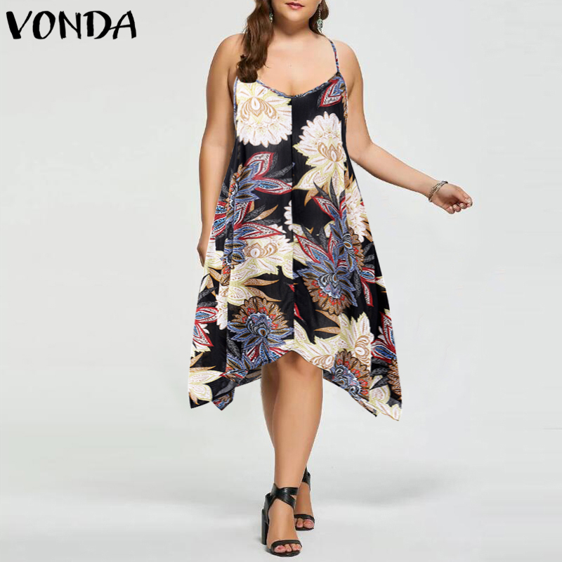 Fashion Women Sexy Print Dress 2018 Summer Casual Loose Party Dresses V Neck Backless Asymmetric Hem Plus Size Vestidos Hot Sale