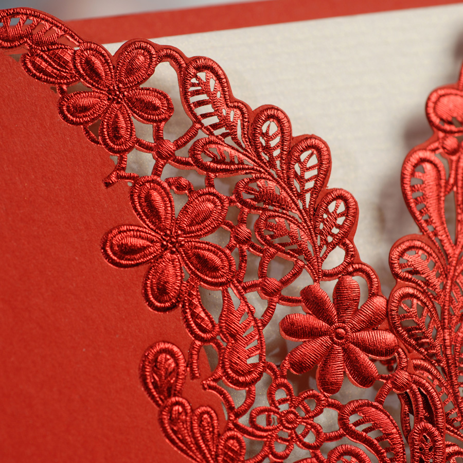 Red Color Wedding Invitation Card Laser Cut with nice ribbon on ...