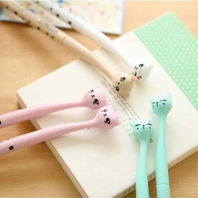 0.5mm Cute Candy Color Bow Cat Gel Ink Pen Creative Gift Office School Supplies Pen for Girl Student Gift