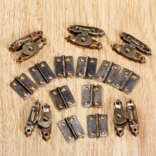 5Pcs Antique Bronze Jewelry Wooden Box Case Toggle Hasp Latch +10Pcs Cabinet  Hinges Iron Vintage Hardware Furniture Accessories - Online Shop 5Pcs Antique Bronze Jewelry Wooden Box Case Toggle Hasp