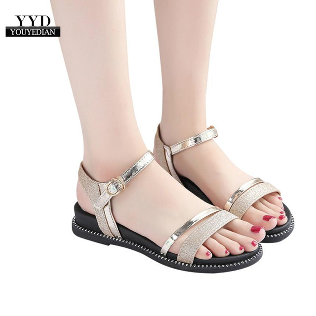 a2e97a4fe6b4 YOUYEDIAN shoes woman sandals flat Fashion Women Sequins Flat Heel Anti  Skidding Beach Shoes Sandals sandali