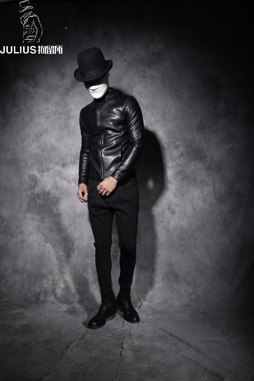 ¡M 2XL! abrigo de cuero corto con cuello de cuero ajustado para hombre nuevo invierno antipersonalidad - 5