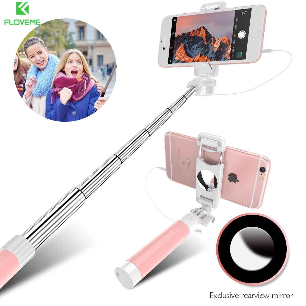 FLOVEME Universal Wired Selfie Stick Extendable Monopod For iPhone 6 6s Plus 5 5S Selfie Stick For Samsung Huawei Xiaomi Sony LG