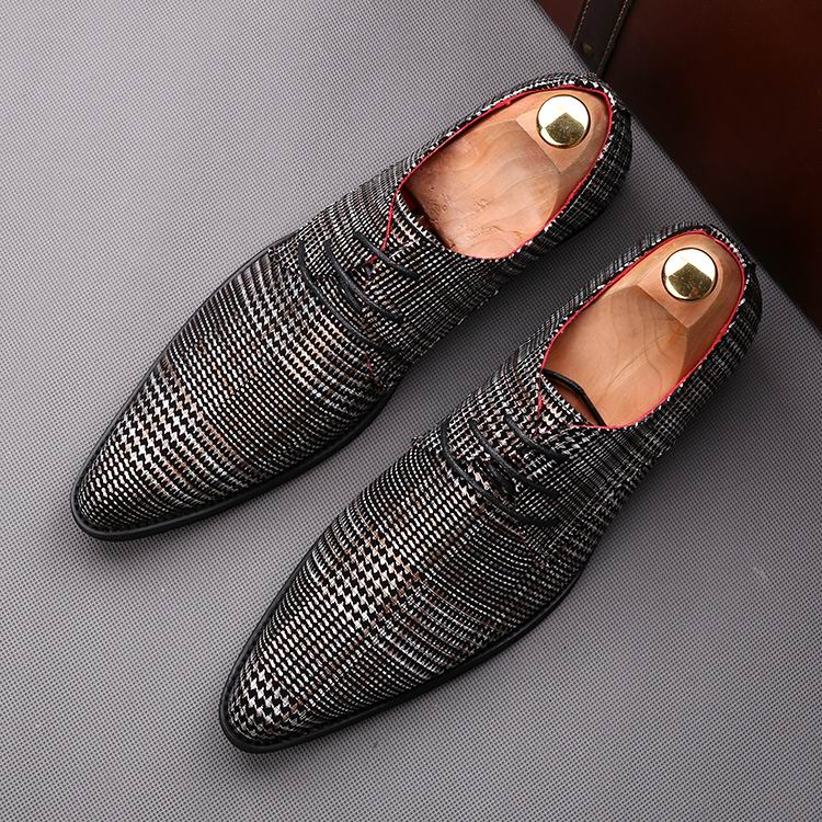 ERRFC Fashion Forward Men Derby Shoes Pointed Toe Lace Up Stylish Wedding Shoes Man Leisure Trending