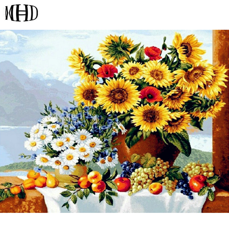 Sunny Flower Diamond Painting Full Square Round 3D DIY Diamond Embroidery Horse Crystal Seiko Crafts Decorative Painting Flowers