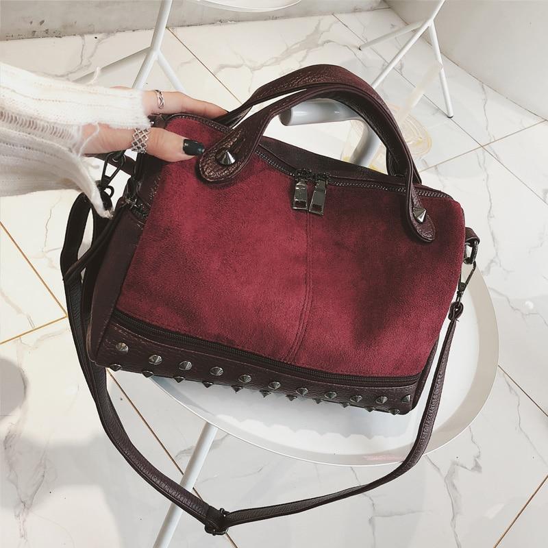 SINTIR Vintage Nubuck Leather Rivet Larger Women Bags Female Top-handle Bags Shoulder Bag Motorcycle Messenger Bag Sac 2